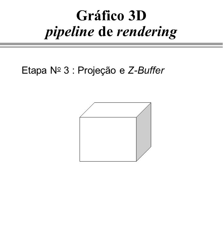 Gráfico 3D pipeline de rendering Etapa N o 3 : Projeção e Z-Buffer