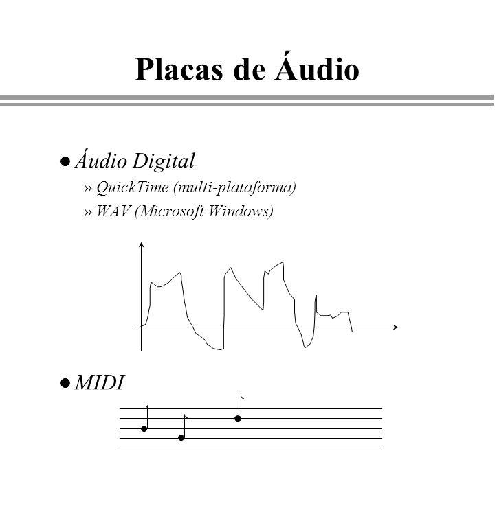 Placas de Áudio l Áudio Digital »QuickTime (multi-plataforma) »WAV (Microsoft Windows) l MIDI