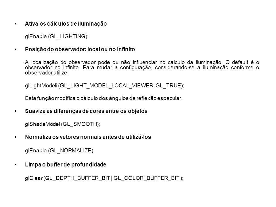 glMatrixMode(GL_PROJECTION); glLoadIdentity(); glViewport(0,0,winW,winH); /* mapeamento */ camGetOGLPerspective (camera, &fovy, &aspect, &zNear, &zFar); /* pega os parâmetros da cena */ gluPerspective (fovy, aspect, zNear, zFar); /* Permite definir uma perspectiva equivalente a glFrustum */ /* aspect = largura / altura */ Define a matriz de projeção