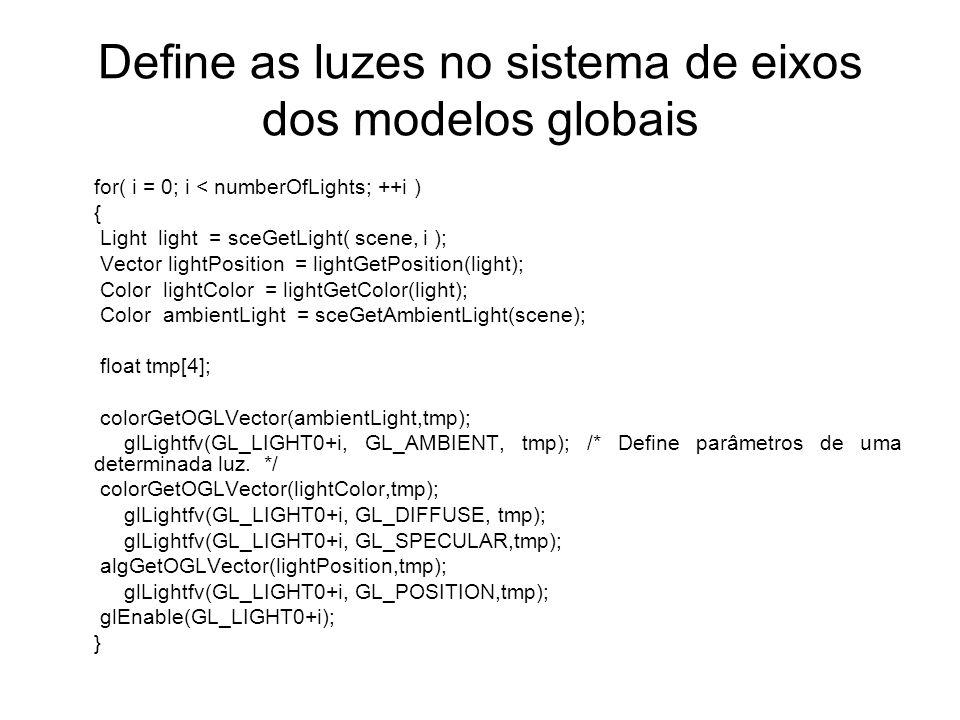 Define as luzes no sistema de eixos dos modelos globais for( i = 0; i < numberOfLights; ++i ) { Light light = sceGetLight( scene, i ); Vector lightPosition = lightGetPosition(light); Color lightColor = lightGetColor(light); Color ambientLight = sceGetAmbientLight(scene); float tmp[4]; colorGetOGLVector(ambientLight,tmp); glLightfv(GL_LIGHT0+i, GL_AMBIENT, tmp); /* Define parâmetros de uma determinada luz.