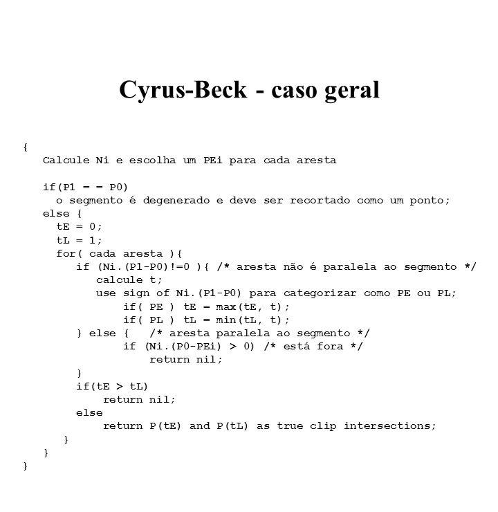 Cyrus-Beck - caso geral { Calcule Ni e escolha um PEi para cada aresta if(P1 = = P0) o segmento é degenerado e deve ser recortado como um ponto; else