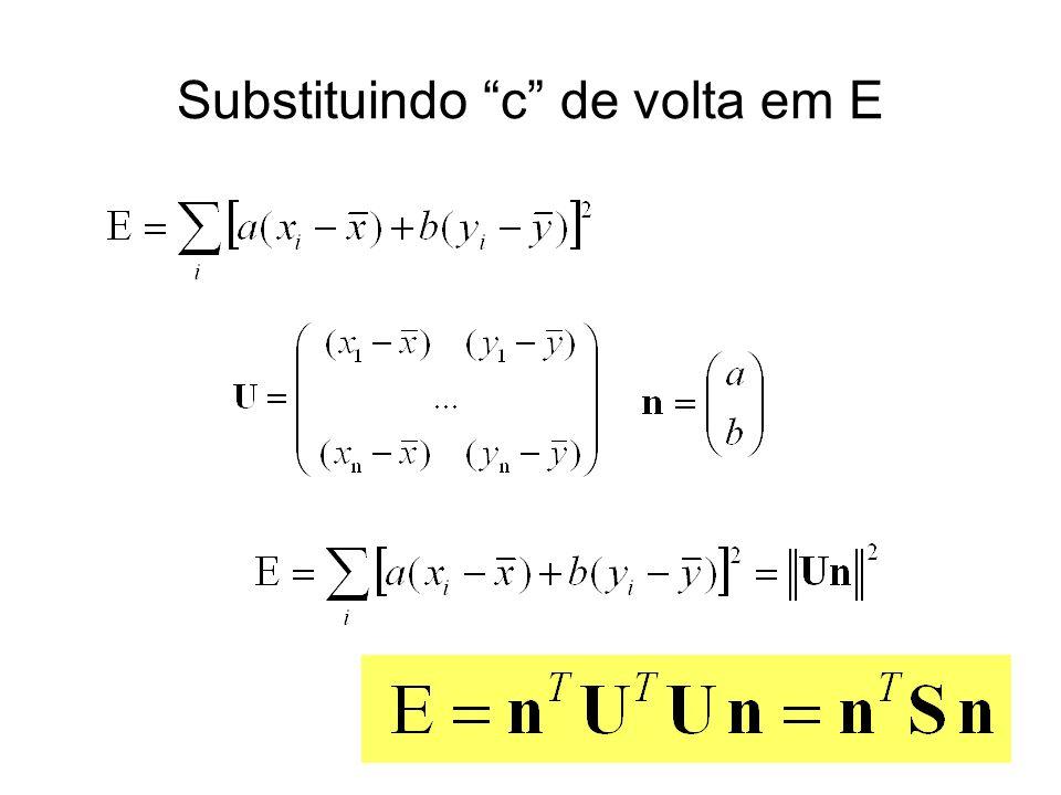 Substituindo c de volta em E