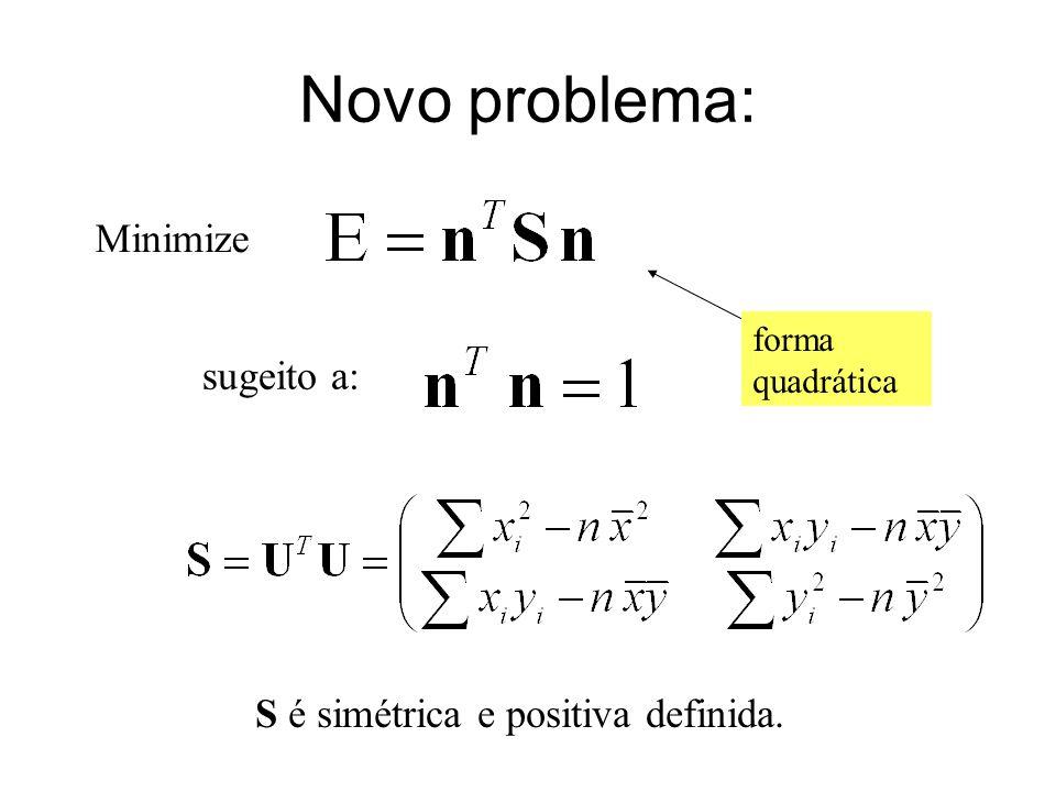 Novo problema: Minimize sugeito a: S é simétrica e positiva definida. forma quadrática