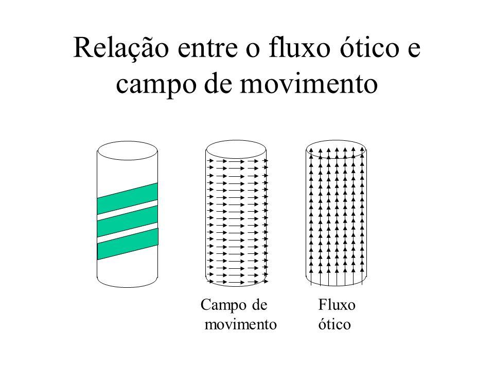 Relação entre o fluxo ótico e campo de movimento Campo de movimento Fluxo ótico
