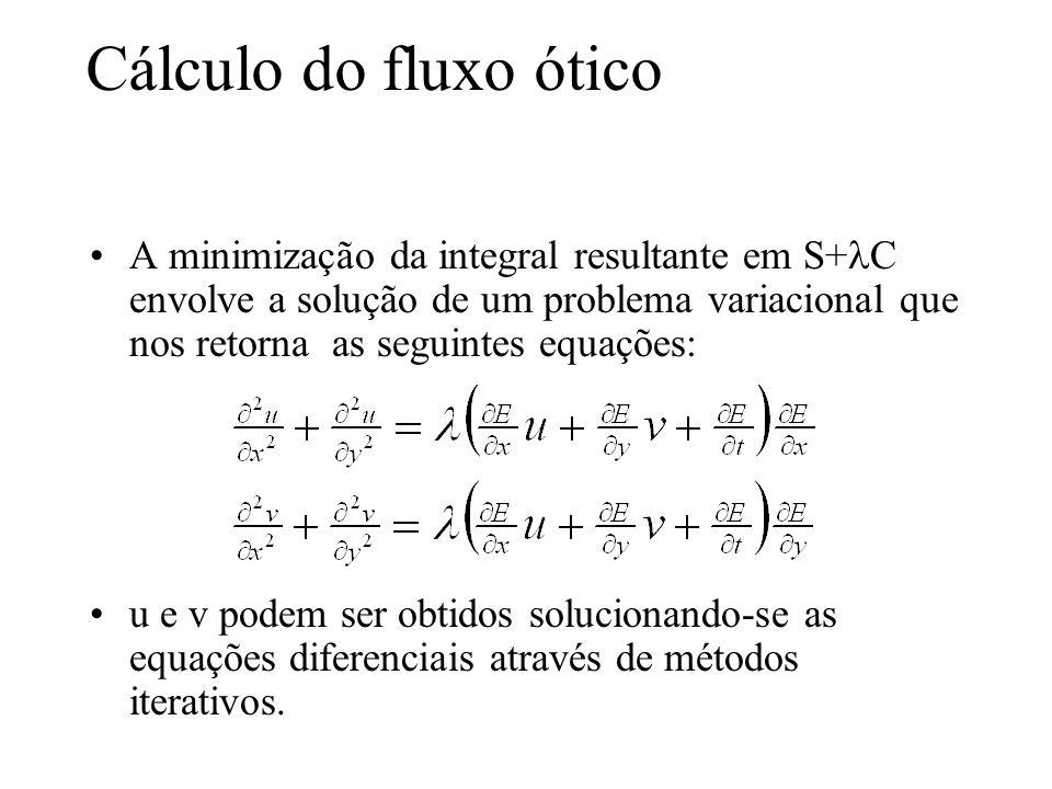 Cálculo do fluxo ótico A minimização da integral resultante em S+ C envolve a solução de um problema variacional que nos retorna as seguintes equações