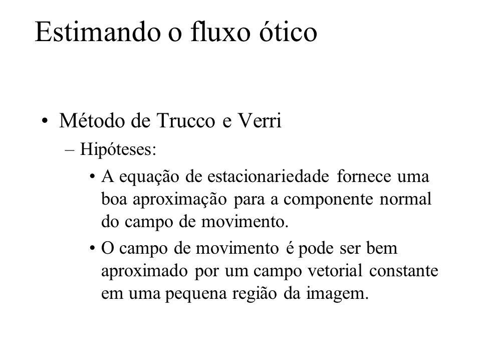 Estimando o fluxo ótico Método de Trucco e Verri –Hipóteses: A equação de estacionariedade fornece uma boa aproximação para a componente normal do cam