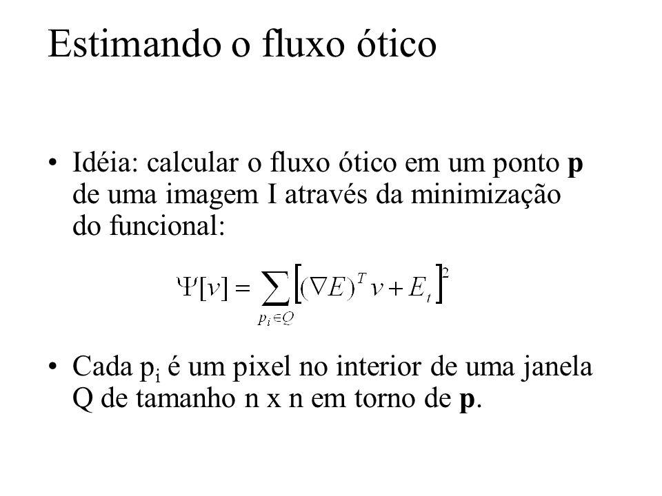 Estimando o fluxo ótico Idéia: calcular o fluxo ótico em um ponto p de uma imagem I através da minimização do funcional: Cada p i é um pixel no interi