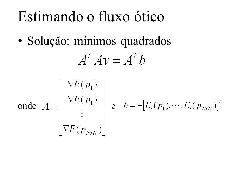 Estimando o fluxo ótico Solução: mínimos quadrados onde e