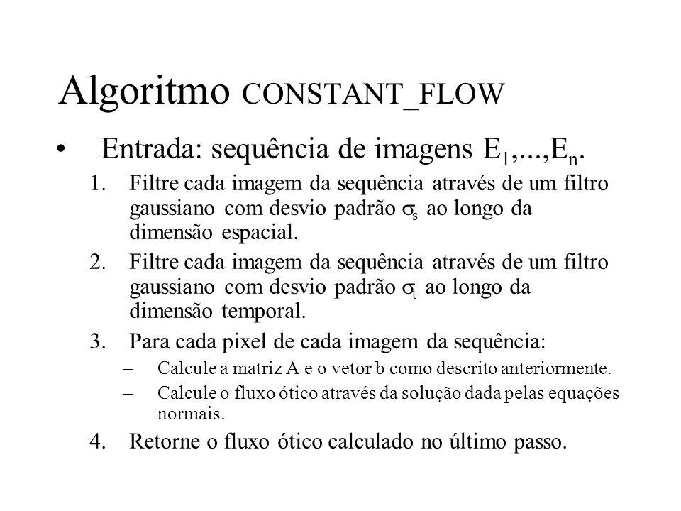 Algoritmo CONSTANT_FLOW Entrada: sequência de imagens E 1,...,E n. 1.Filtre cada imagem da sequência através de um filtro gaussiano com desvio padrão