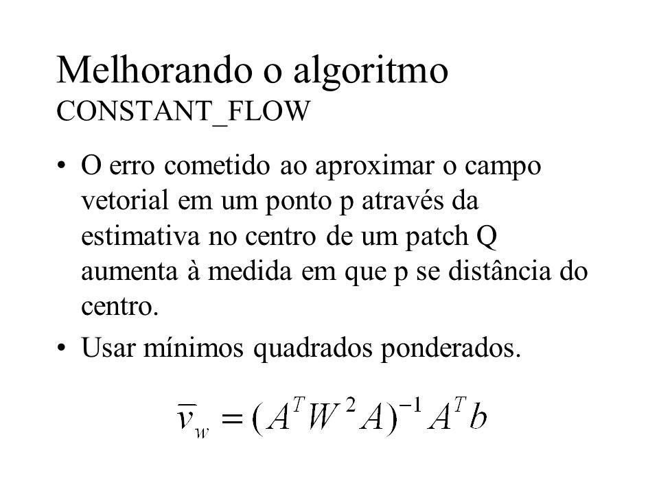 Melhorando o algoritmo CONSTANT_FLOW O erro cometido ao aproximar o campo vetorial em um ponto p através da estimativa no centro de um patch Q aumenta