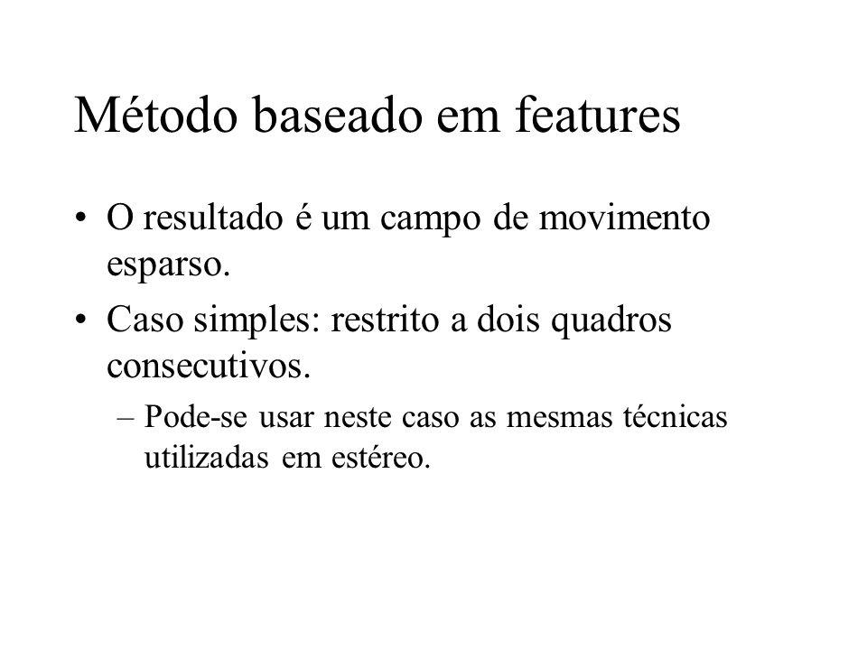 Método baseado em features O resultado é um campo de movimento esparso. Caso simples: restrito a dois quadros consecutivos. –Pode-se usar neste caso a