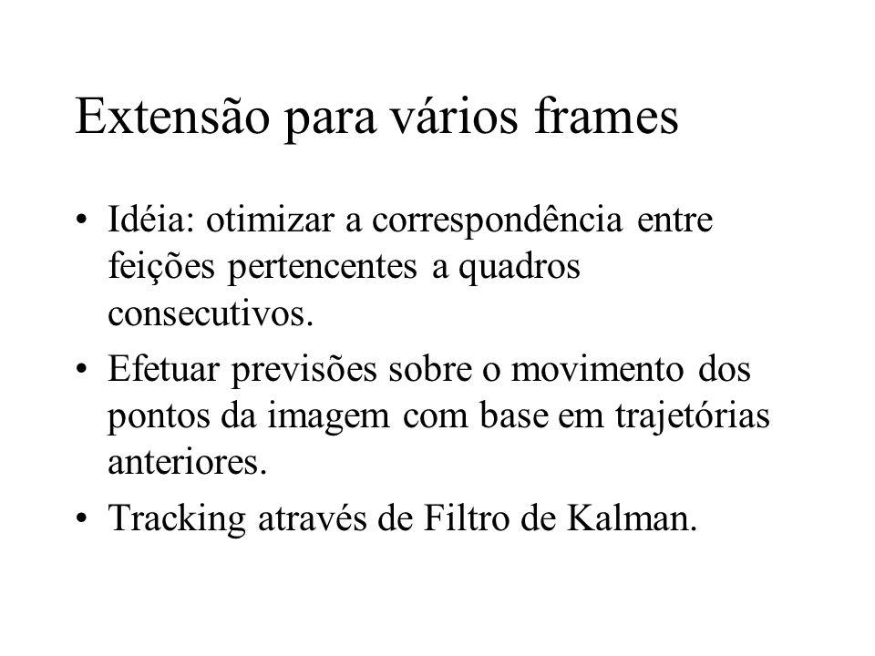 Extensão para vários frames Idéia: otimizar a correspondência entre feições pertencentes a quadros consecutivos. Efetuar previsões sobre o movimento d