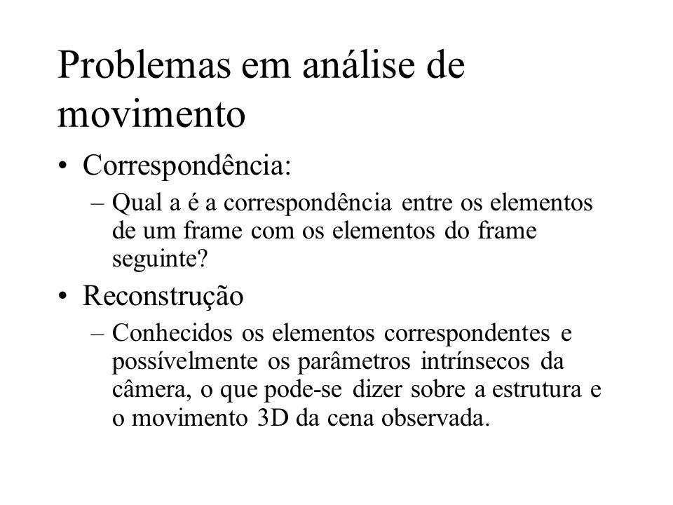 Problemas em análise de movimento Correspondência: –Qual a é a correspondência entre os elementos de um frame com os elementos do frame seguinte? Reco