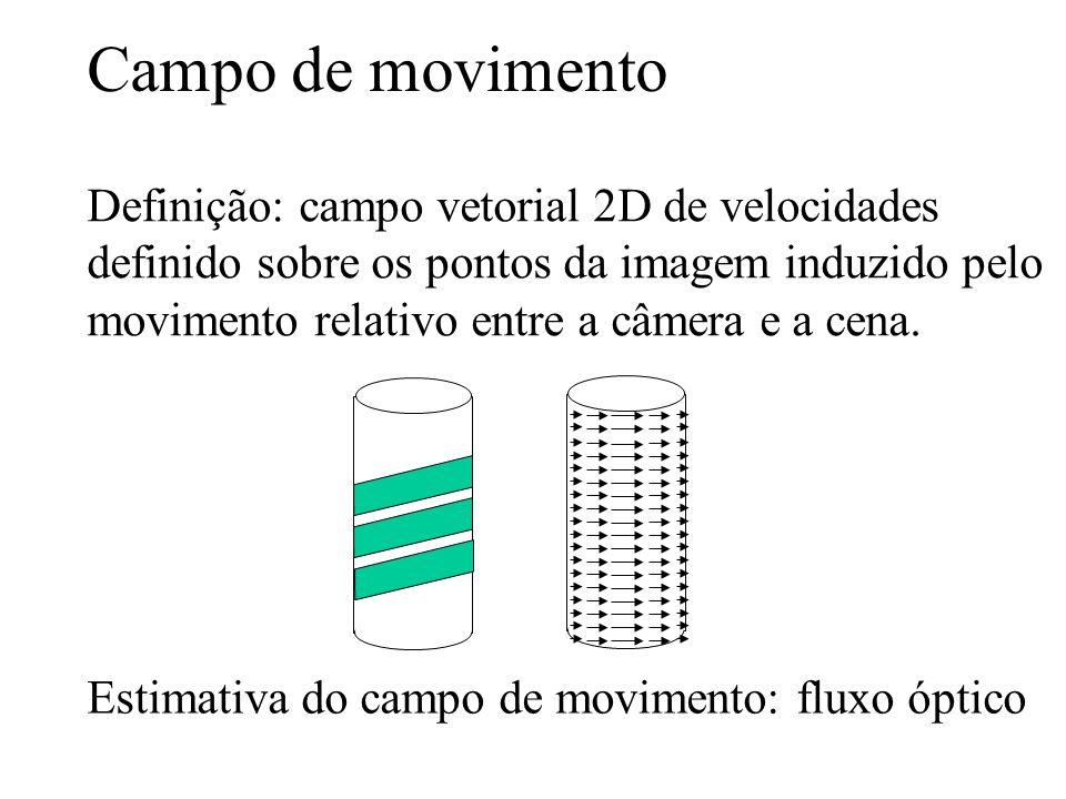 Campo de movimento Definição: campo vetorial 2D de velocidades definido sobre os pontos da imagem induzido pelo movimento relativo entre a câmera e a
