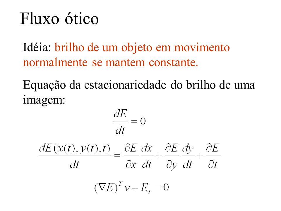 Fluxo ótico Idéia: brilho de um objeto em movimento normalmente se mantem constante. Equação da estacionariedade do brilho de uma imagem: