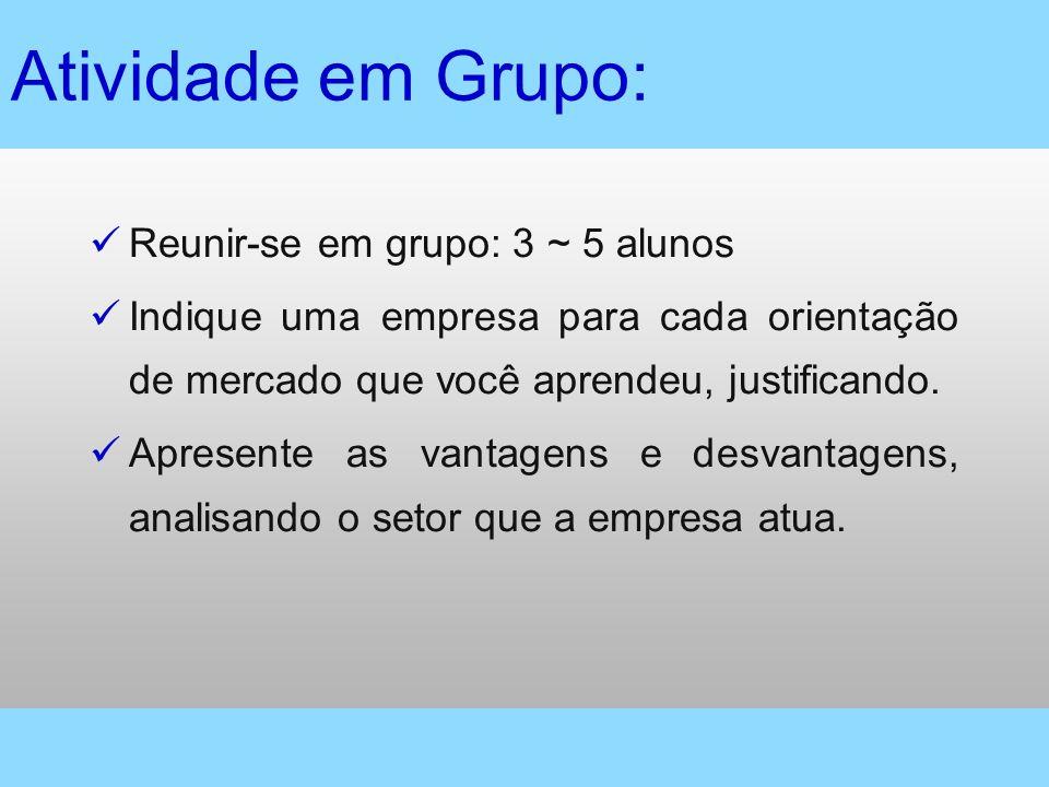 Atividade em Grupo: Reunir-se em grupo: 3 ~ 5 alunos Indique uma empresa para cada orientação de mercado que você aprendeu, justificando. Apresente as