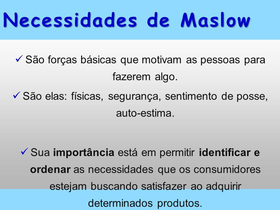 Necessidades de Maslow São forças básicas que motivam as pessoas para fazerem algo. São elas: físicas, segurança, sentimento de posse, auto-estima. Su