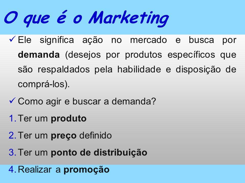 O que é o Marketing Ele significa ação no mercado e busca por demanda (desejos por produtos específicos que são respaldados pela habilidade e disposiç