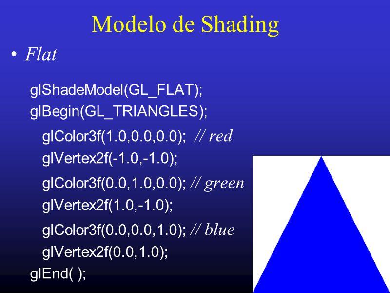 17 Modelo de Shading Flat glShadeModel(GL_FLAT); glBegin(GL_TRIANGLES); glColor3f(1.0,0.0,0.0); // red glVertex2f(-1.0,-1.0); glColor3f(0.0,1.0,0.0);