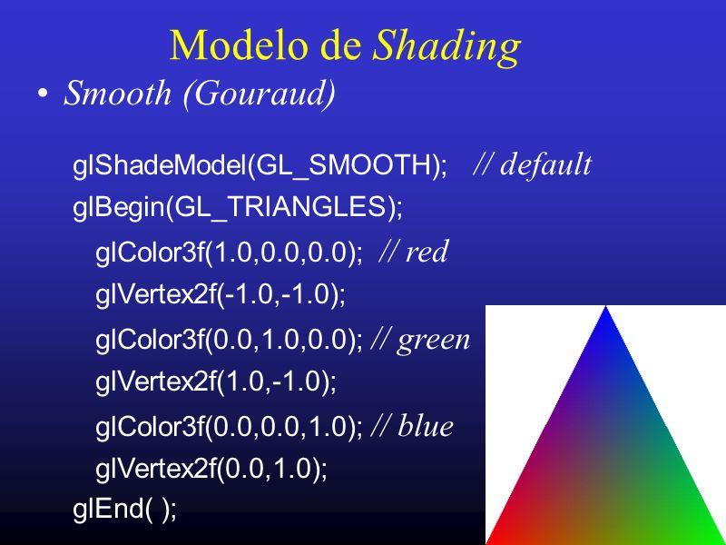 18 Modelo de Shading Smooth (Gouraud) glShadeModel(GL_SMOOTH); // default glBegin(GL_TRIANGLES); glColor3f(1.0,0.0,0.0); // red glVertex2f(-1.0,-1.0);