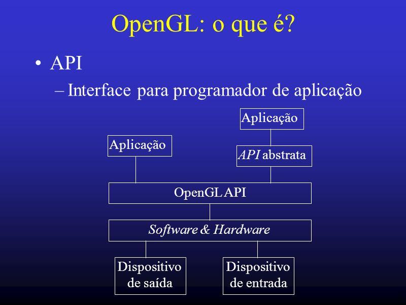 2 OpenGL: o que é? API –Interface para programador de aplicação Aplicação API abstrata Aplicação OpenGL API Software & Hardware Dispositivo de saída D