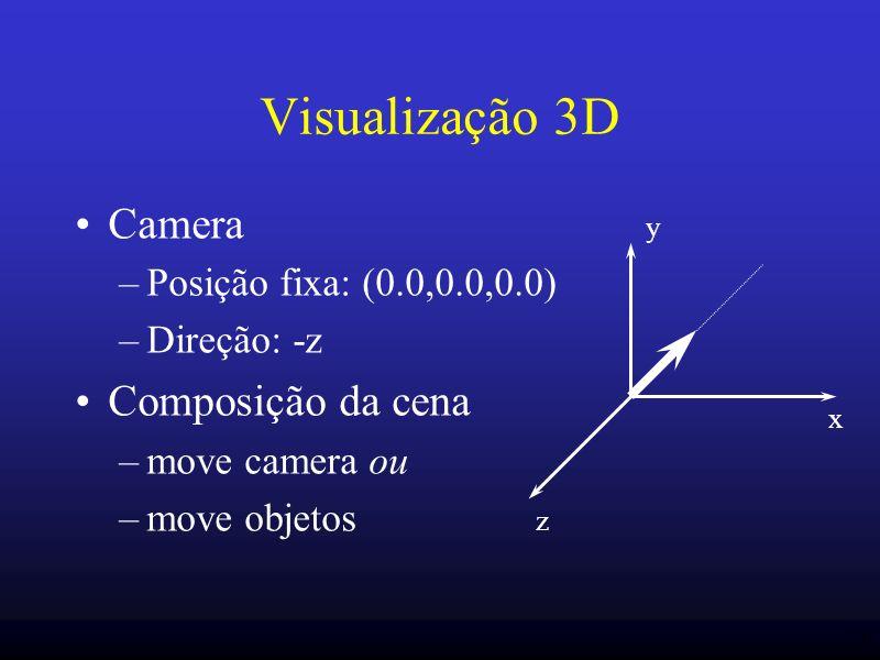 20 Visualização 3D Camera –Posição fixa: (0.0,0.0,0.0) –Direção: -z Composição da cena –move camera ou –move objetos x y z