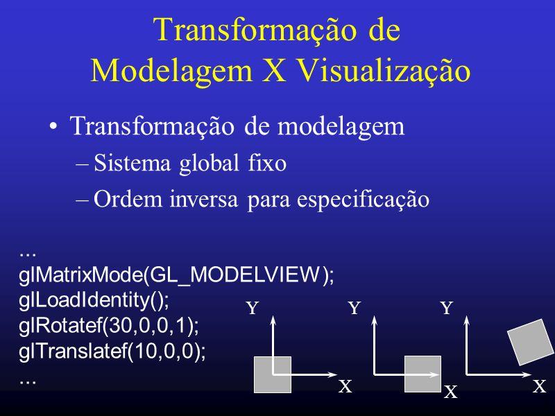 21 Transformação de Modelagem X Visualização Transformação de modelagem –Sistema global fixo –Ordem inversa para especificação X Y X Y X Y... glMatrix
