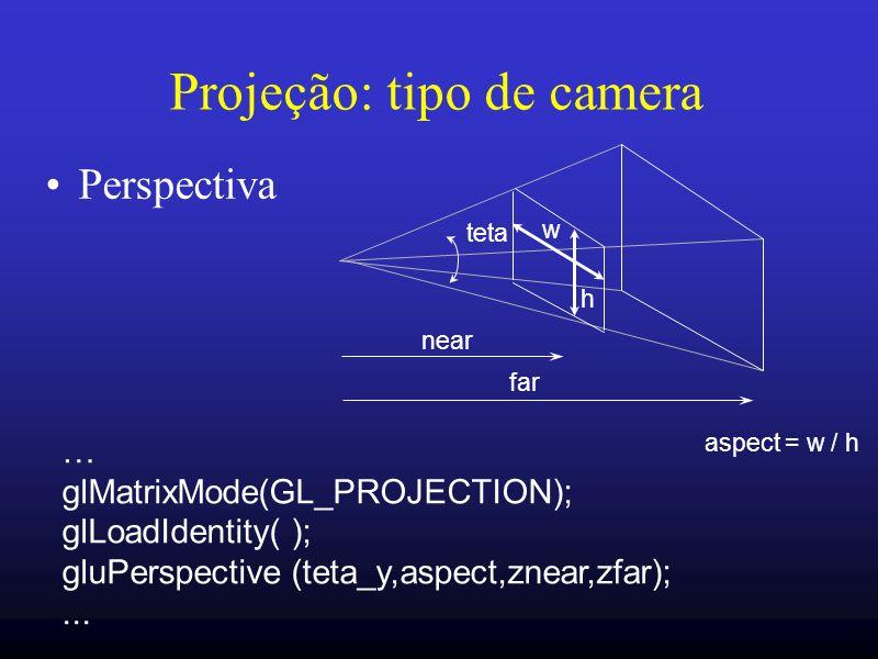 25 Projeção: tipo de camera Perspectiva w h near far … glMatrixMode(GL_PROJECTION); glLoadIdentity( ); gluPerspective (teta_y,aspect,znear,zfar);... t