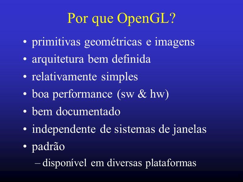3 Por que OpenGL? primitivas geométricas e imagens arquitetura bem definida relativamente simples boa performance (sw & hw) bem documentado independen
