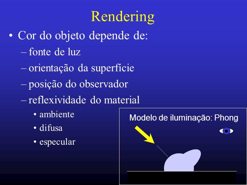 31 Rendering Cor do objeto depende de: –fonte de luz –orientação da superfície –posição do observador –reflexividade do material ambiente difusa espec
