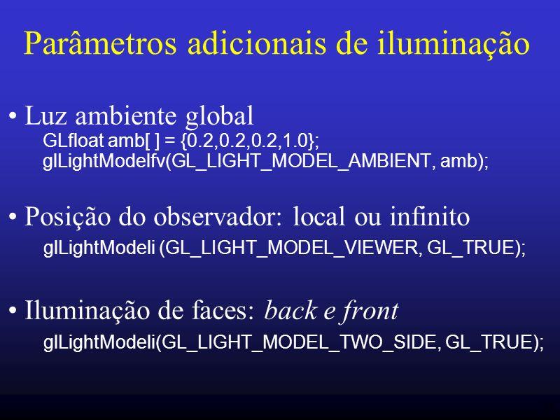 34 Parâmetros adicionais de iluminação Luz ambiente global GLfloat amb[ ] = {0.2,0.2,0.2,1.0}; glLightModelfv(GL_LIGHT_MODEL_AMBIENT, amb); Posição do