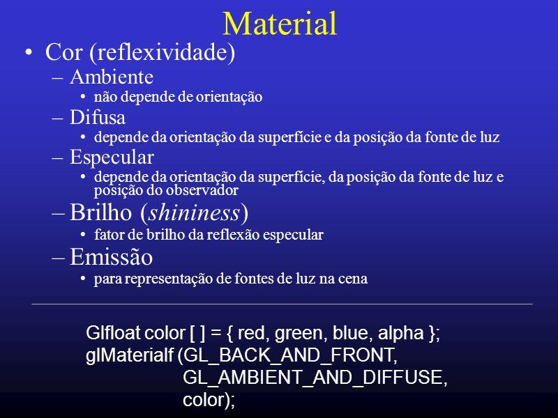 35 Material Cor (reflexividade) –Ambiente não depende de orientação –Difusa depende da orientação da superfície e da posição da fonte de luz –Especula