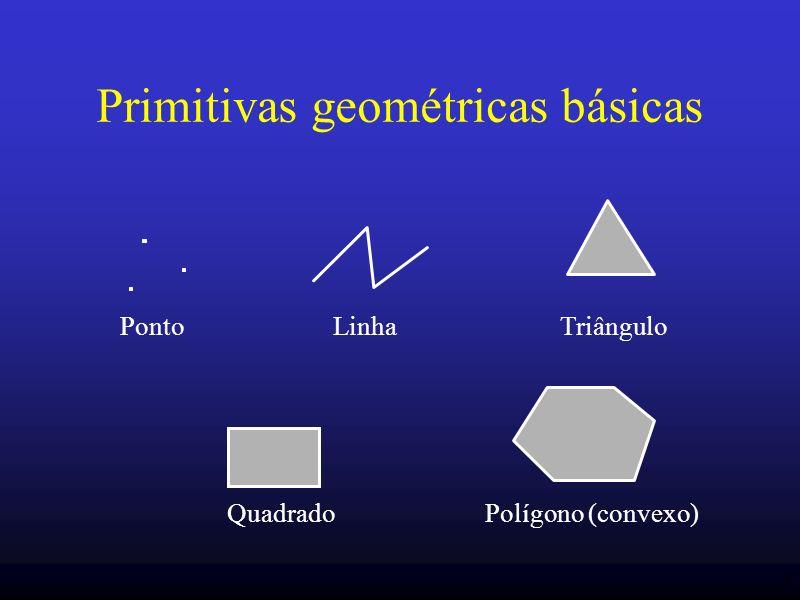 15 Especificação de vértice glVertex{tam}{tipo}{vetor} (…); exemplo: GLdouble pos[ ] = {0.4,9.0,2.0}; glVertex3dv(pos); ou glVertex3d(0.4,9.0,2.0); OpenGL trabalha com coordenadas homegêneas