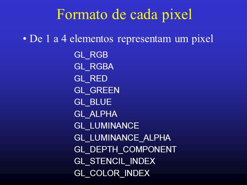 43 Formato de cada pixel GL_RGB GL_RGBA GL_RED GL_GREEN GL_BLUE GL_ALPHA GL_LUMINANCE GL_LUMINANCE_ALPHA GL_DEPTH_COMPONENT GL_STENCIL_INDEX GL_COLOR_
