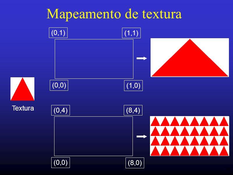 48 Mapeamento de textura Textura (0,0) (1,0) (1,1) (0,1) (0,0) (8,0) (8,4)(0,4)