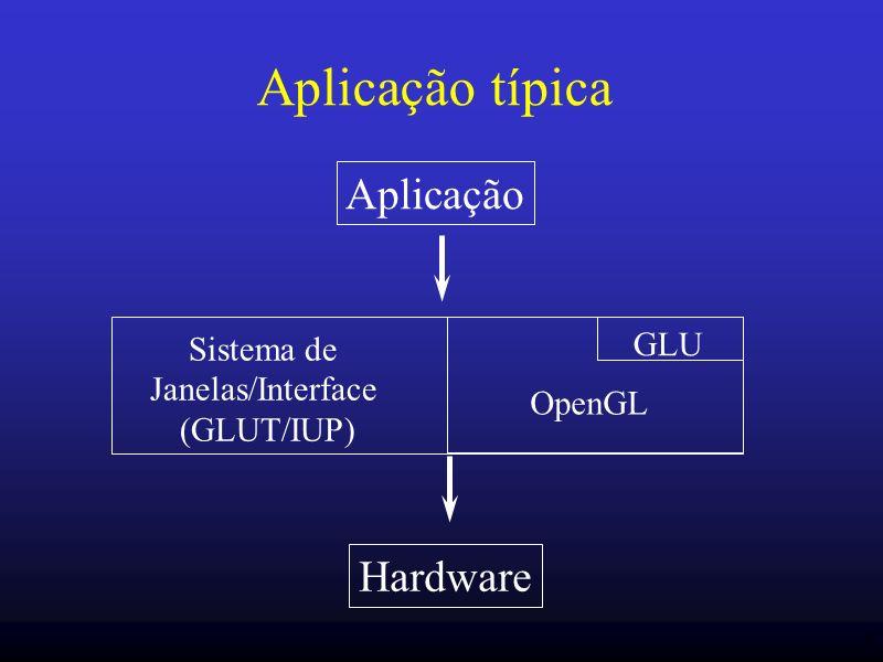 9 Programa simples (usando GLUT) int main (int argc, char* argv[]) { /* openg GLUT */ glutInit(&argc, argv); glutInitDisplayMode (GLUT_SINGLE | GLUT_RGB); glutInitWindowSize (250, 250); /* create window */ glutCreateWindow (simple ); glutDisplayFunc(display); /* interact … */ glutMainLoop(); return 0; } #ifdef _WIN32 #include #endif #include GL/gl.h #include GL/glu.h #include GL/glut.h