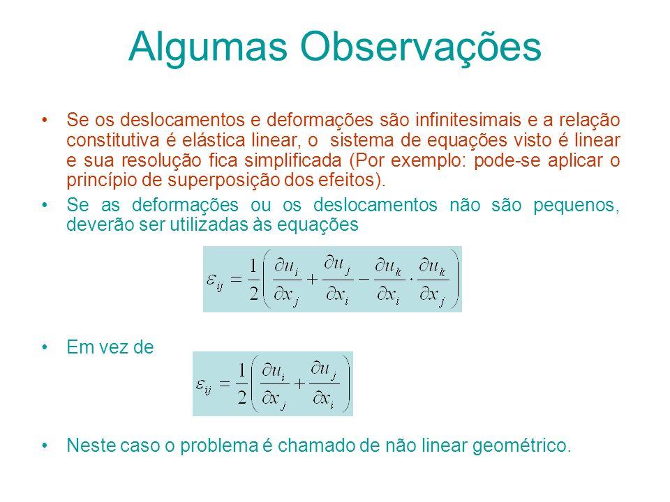 Algumas Observações Se os deslocamentos e deformações são infinitesimais e a relação constitutiva é elástica linear, o sistema de equações visto é lin