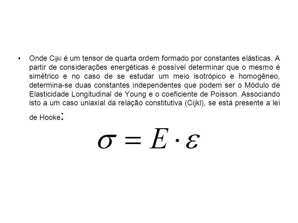 Onde C ijkl é um tensor de quarta ordem formado por constantes elásticas. A partir de considerações energéticas é possível determinar que o mesmo é si