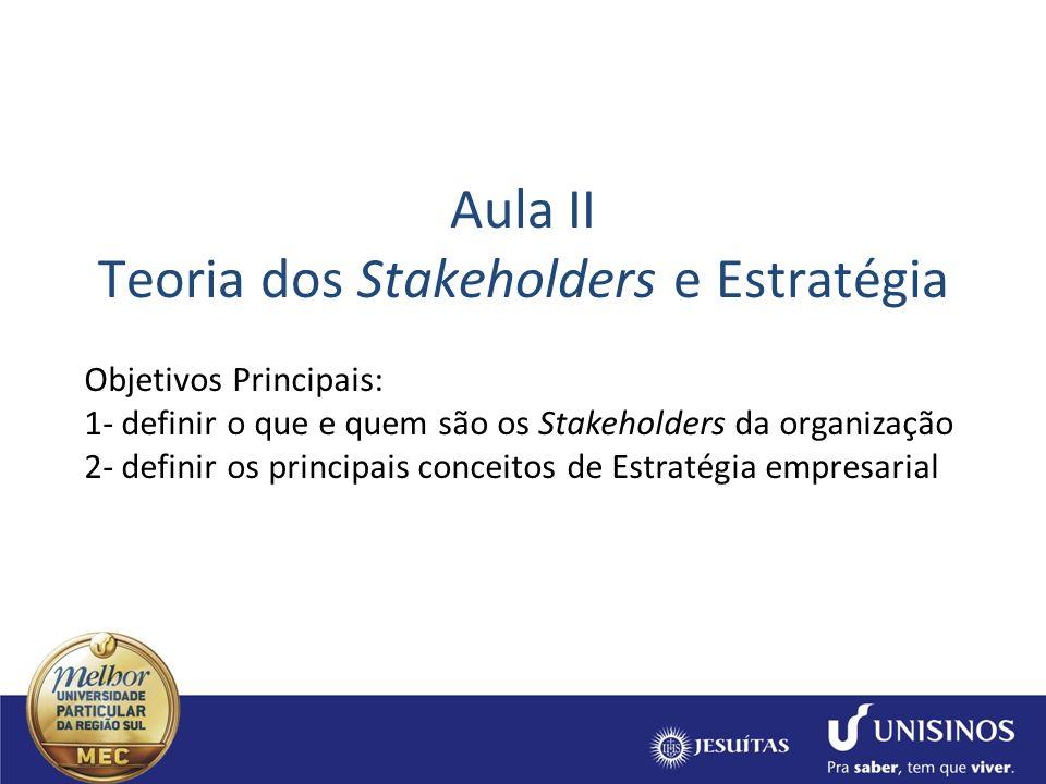 Aula II Teoria dos Stakeholders e Estratégia Objetivos Principais: 1- definir o que e quem são os Stakeholders da organização 2- definir os principais