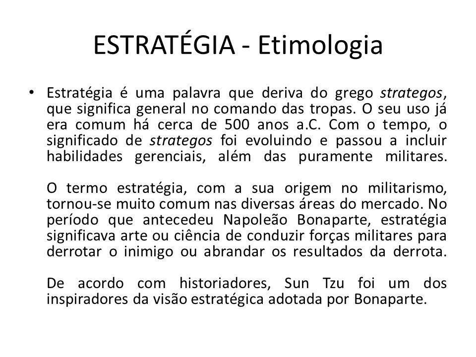 ESTRATÉGIA - Etimologia Estratégia é uma palavra que deriva do grego strategos, que significa general no comando das tropas. O seu uso já era comum há