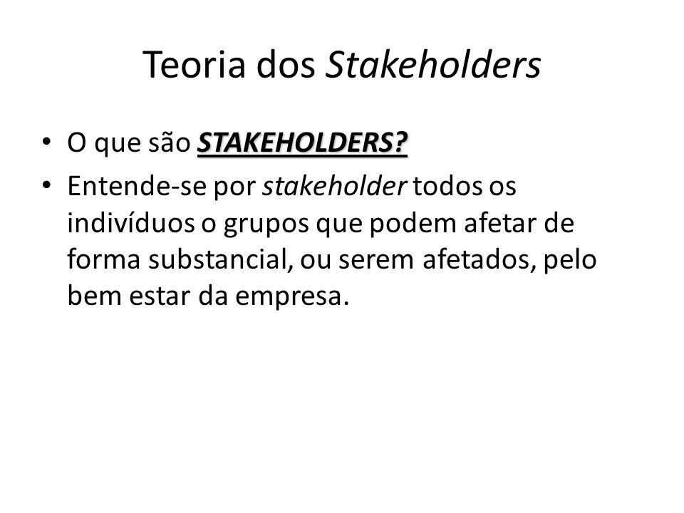 Teoria dos Stakeholders STAKEHOLDERS? O que são STAKEHOLDERS? Entende-se por stakeholder todos os indivíduos o grupos que podem afetar de forma substa