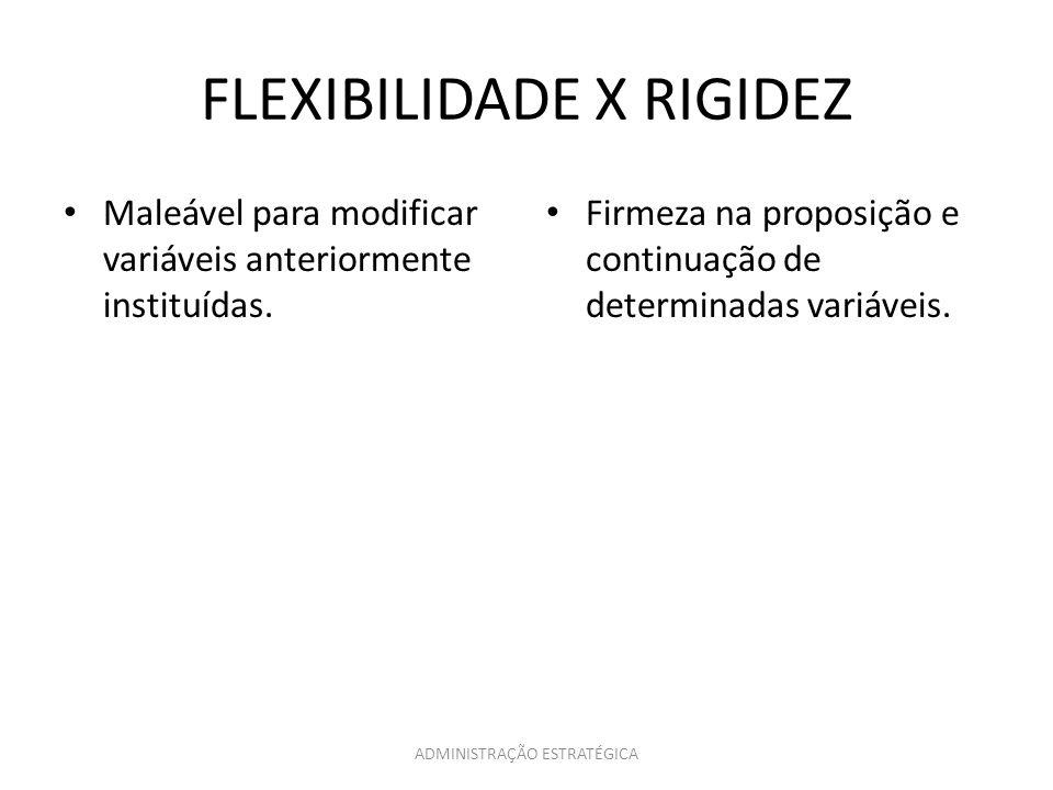 ADMINISTRAÇÃO ESTRATÉGICA FLEXIBILIDADE X RIGIDEZ Maleável para modificar variáveis anteriormente instituídas. Firmeza na proposição e continuação de