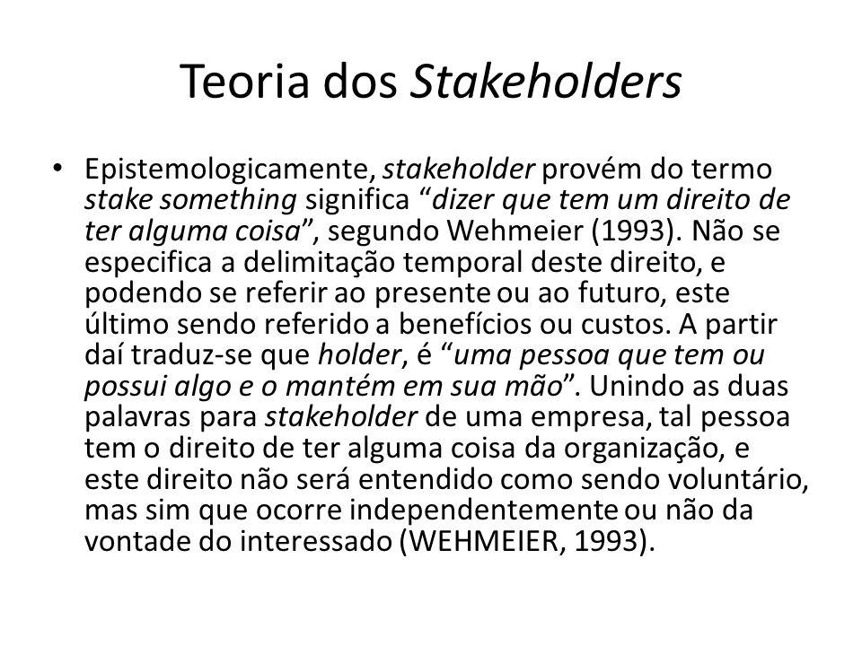 Teoria dos Stakeholders Epistemologicamente, stakeholder provém do termo stake something significa dizer que tem um direito de ter alguma coisa, segun