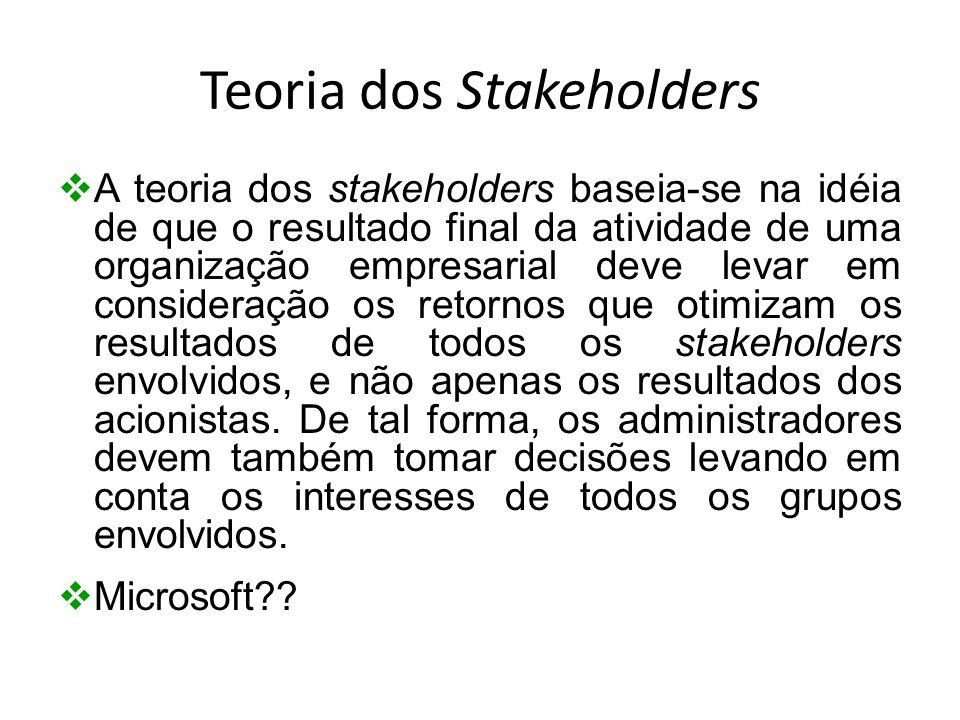 Teoria dos Stakeholders A teoria dos stakeholders baseia-se na idéia de que o resultado final da atividade de uma organização empresarial deve levar e
