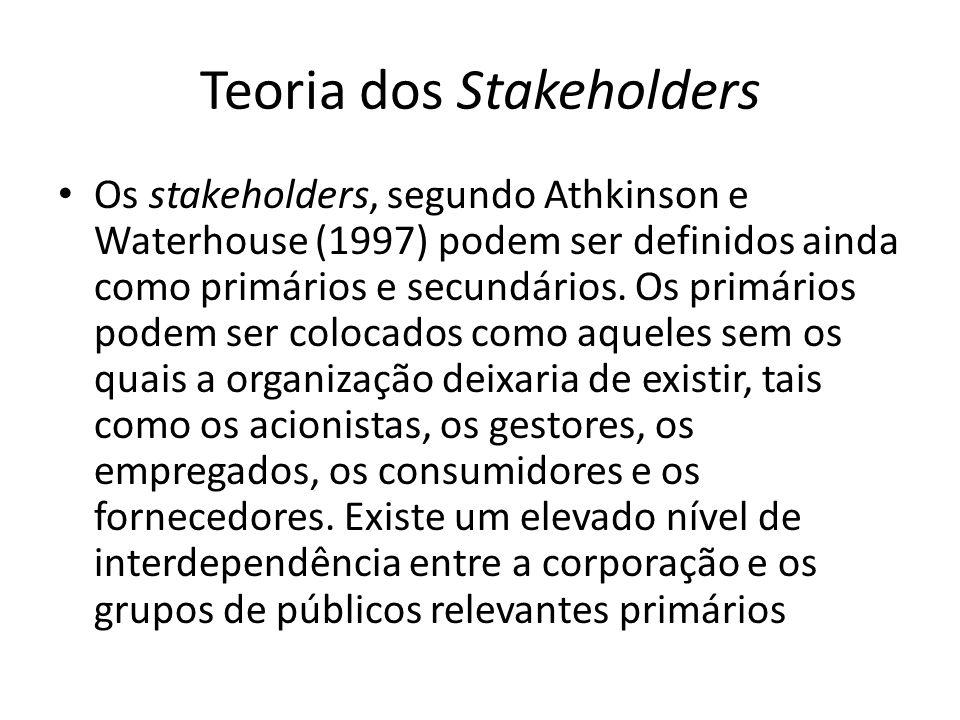Teoria dos Stakeholders Os stakeholders, segundo Athkinson e Waterhouse (1997) podem ser definidos ainda como primários e secundários. Os primários po