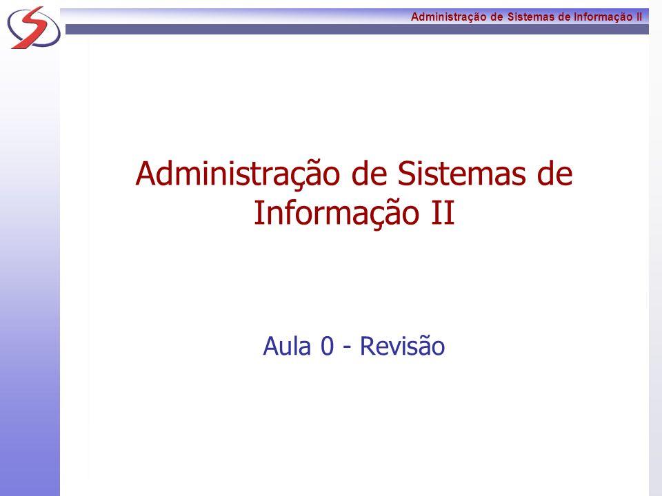 Administração de Sistemas de Informação II Conteúdo Programático OS SISTEMAS DE INFORMAÇÕES COMO APOIO A TOMADA DE DECISÃO O administrador utilizando o Sistema de Informação como ferramenta Sistemas de Informações para áreas estratégicas das organizações Desenvolvimento de um Sistema de Informação Modelo como prática de conhecimento Perfil profissional para a área de TI