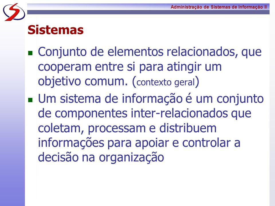 Administração de Sistemas de Informação II Sistemas Computacionais Os principais componentes da tecnologia da informação (TI) são: Hardware: são os dispositivos visíveis do computador, seus periféricos e sua infra-estrutura.