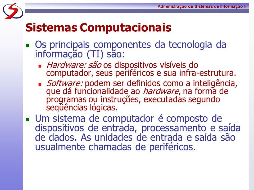 Administração de Sistemas de Informação II Hardware Podem ser encontrados nos mais diversos tamanhos Independente do porte de um computador - fazem o mesmo tipo de atividade - processam informação.