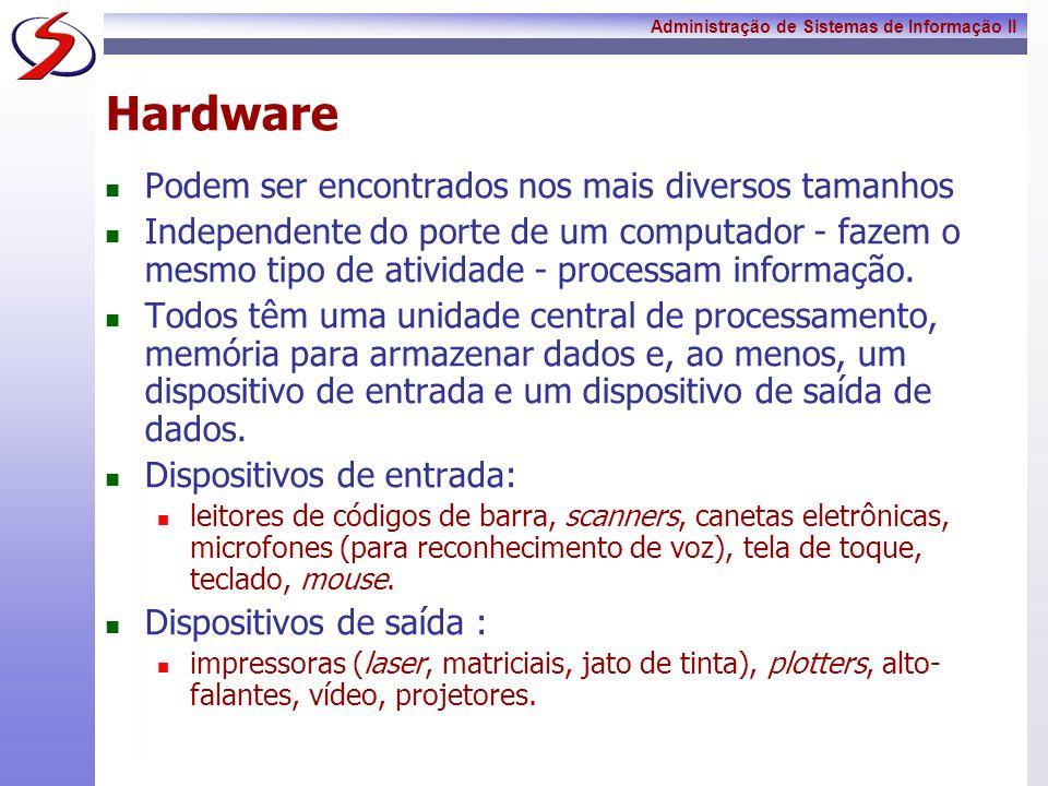 Administração de Sistemas de Informação II Hardware O principal elemento de processamento do computador é o microprocessador, composto de micro-circuitos integrados, é o responsável pelo poder dos computadores atuais.