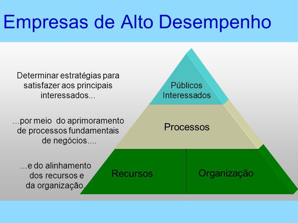 Recursos Organização...e do alinhamento dos recursos e da organização. Empresas de Alto Desempenho Processos...por meio do aprimoramento de processos